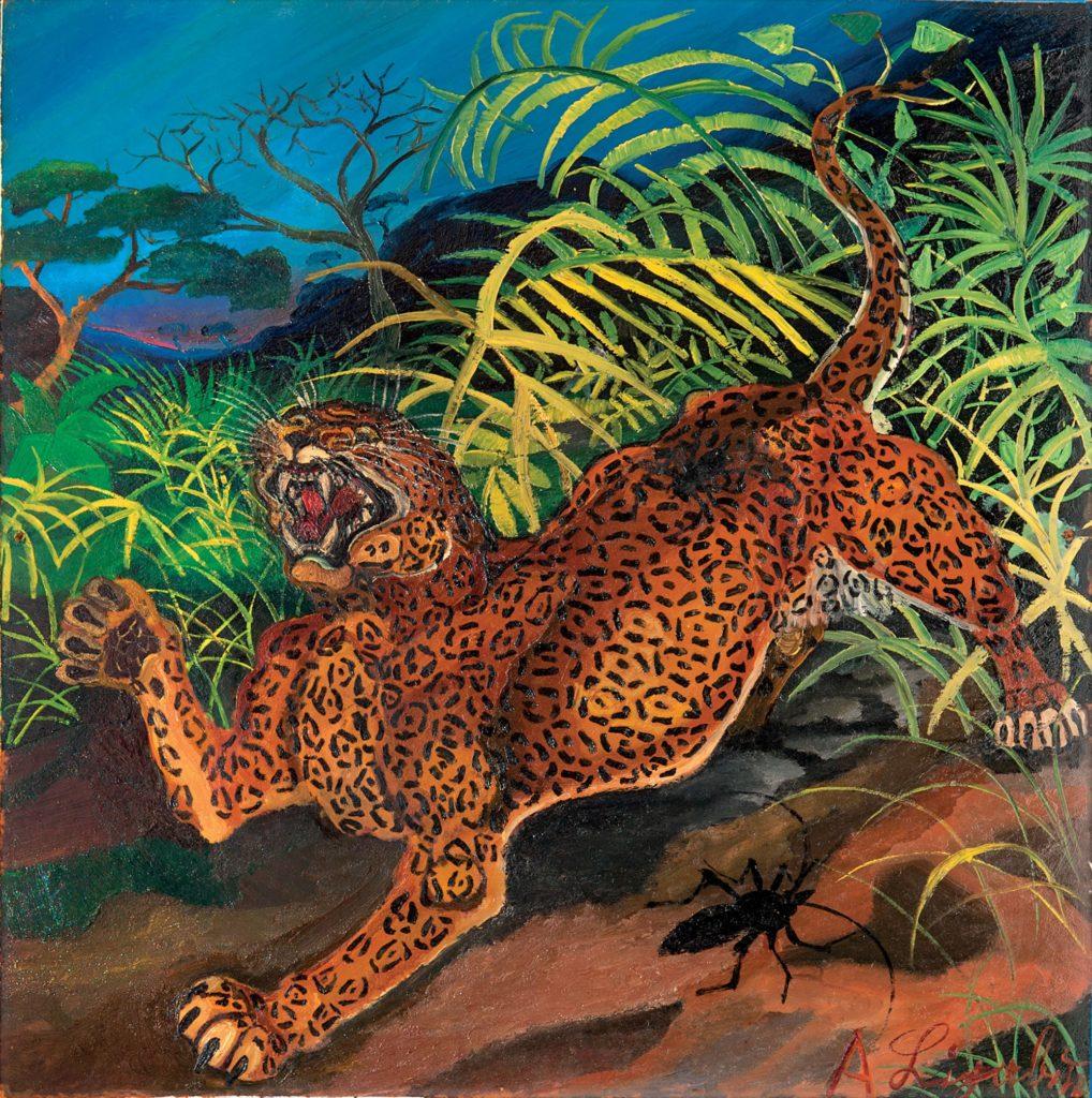 foto TdL - Antonio Ligabue, Leopardo nella foresta, 1956-1957, olio su tavola di faesite, 54x54 cm